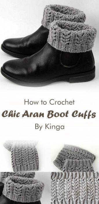 Chic Aran Boot Cuffs Crochet By Kinga