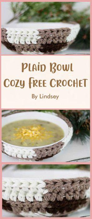 Plaid Bowl Cozy Free Crochet By Lindsey