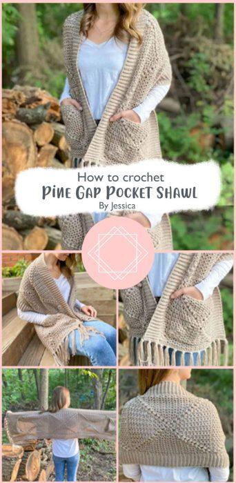 Pine Gap Pocket Shawl Crochet By Jessica