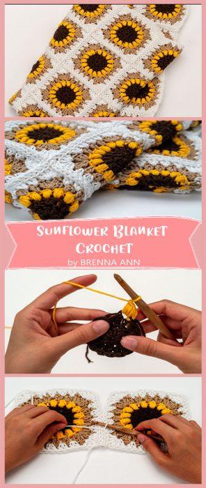 Sunflower Blanket Crochet by BRENNA ANN