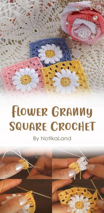 Flower Granny Square Crochet By NotikaLand