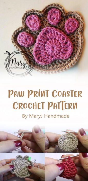 Paw Print Coaster Crochet Pattern By MaryJ Handmade
