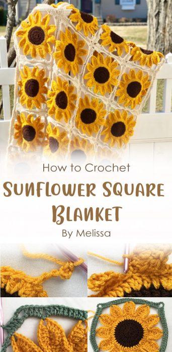 Sunflower Square Blanket Crochet By Melissa