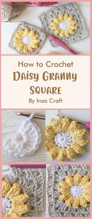 Daisy Granny Square Crochet By Inas Craft