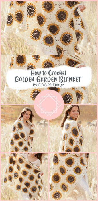 Golden Garden Blanket Crochet By DROPS Design
