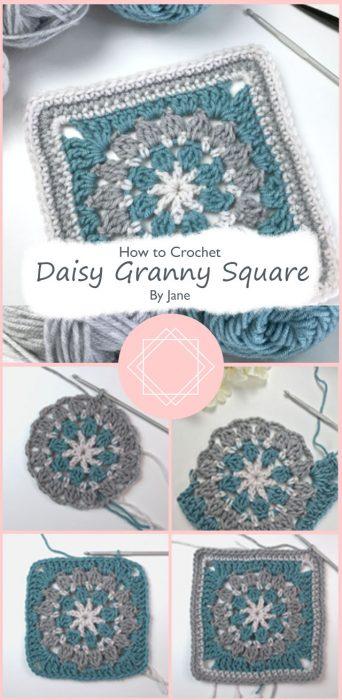 Crochet Daisy Granny Square By Jane