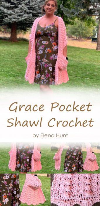 Grace Pocket Shawl Crochet by Elena Hunt