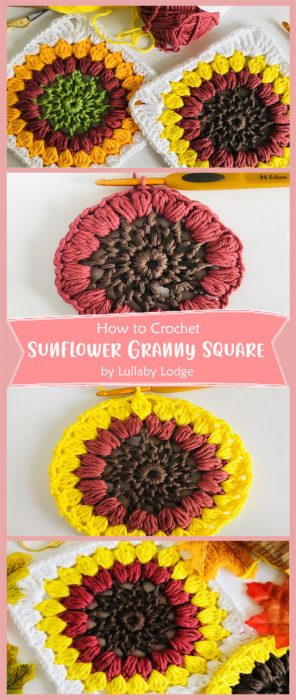 Sunflower Granny Square Crochet by Lullaby Lodge