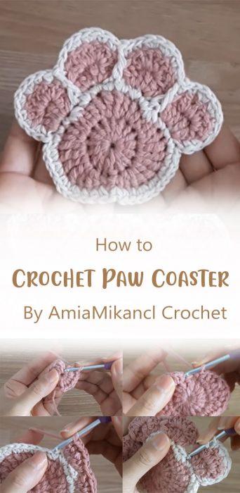 Crochet Paw Coaster By AmiaMikancl Crochet
