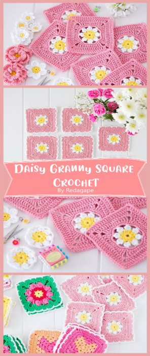 Daisy Granny Square Crochet By Redagape