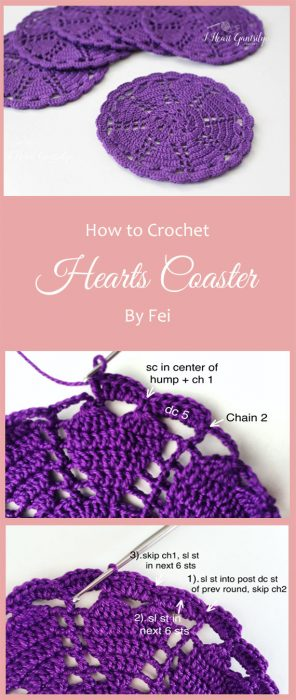 Crochet Hearts Coaster By Fei