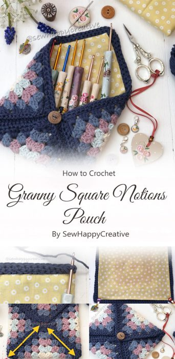 Granny Square Notions Pouch By SewHappyCreative
