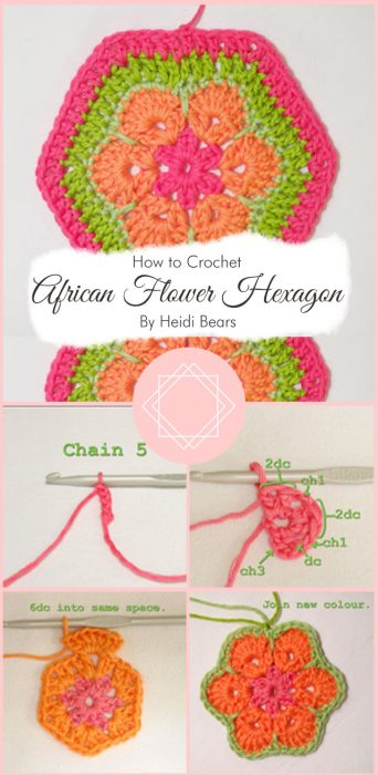 African Flower Hexagon By Heidi Bears