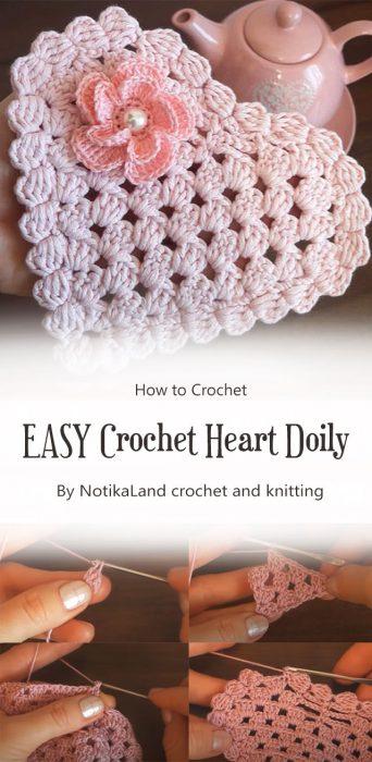 EASY Crochet Heart Doily Tutorial By NotikaLand crochet and knitting