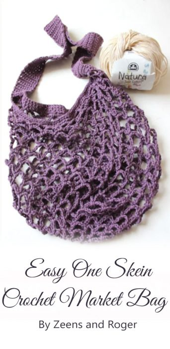 Easy One Skein Crochet Market Bag By Zeens and Roger