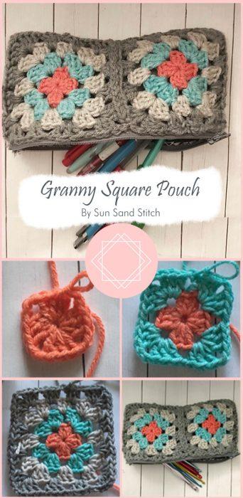 Granny Square Pouch By Sun Sand Stitch