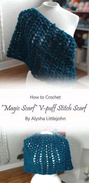 """""""Magic Scarf"""" V-puff Stitch Scarf By Alysha Littlejohn"""