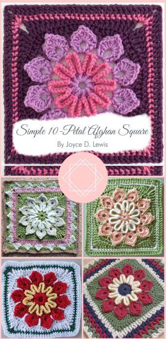 Simple 10-Petal Afghan Square By Joyce D. Lewis