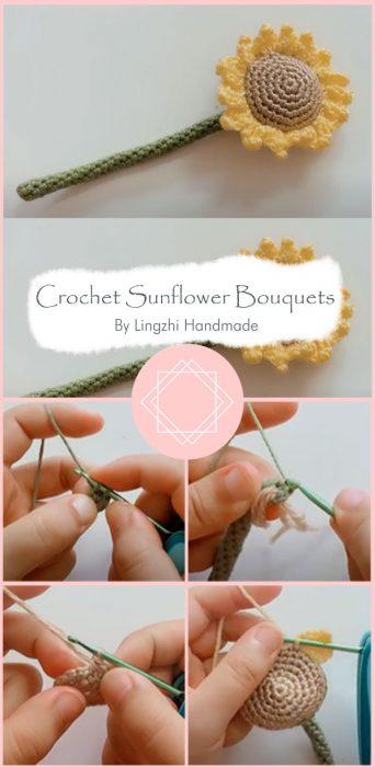 Crochet Sunflower Bouquets By Lingzhi Handmade