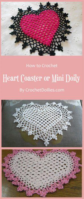 Heart Coaster or Mini Doily By CrochetDoiliescom