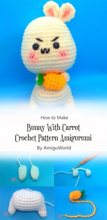 Bunny With Carrot Crochet Pattern Amigurumi By AmiguWorld