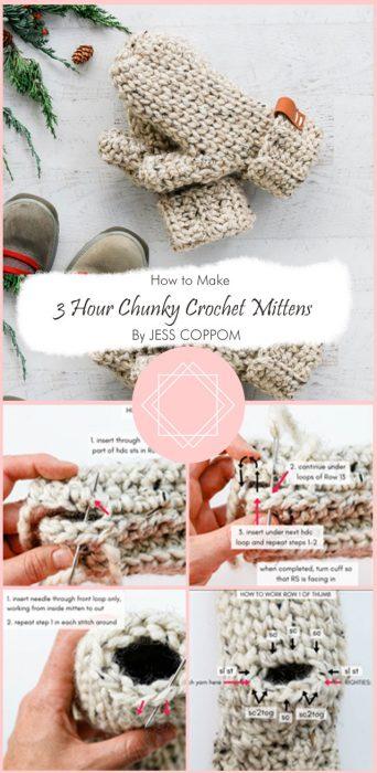 3 Hour Chunky Crochet Mittens – Free Pattern By JESS COPPOM