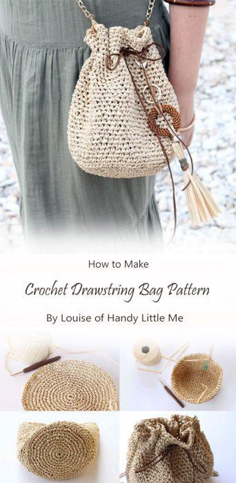 Crochet Drawstring Bag Pattern By Louise of Handy Little Me