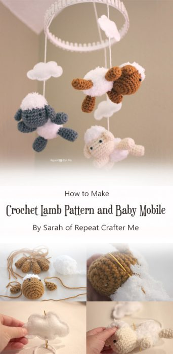Crochet Lamb Pattern and Baby Mobile By Sarah of Repeat Crafter Me