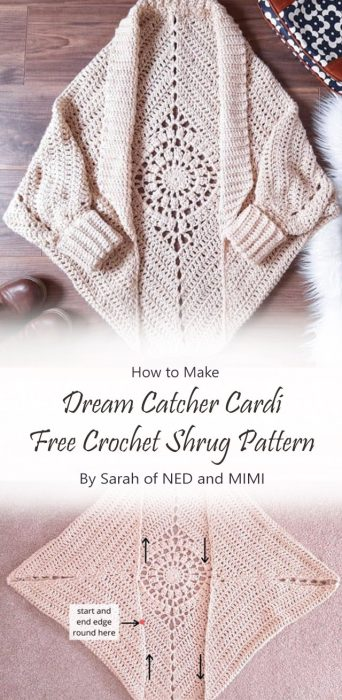 Dream Catcher Cardi – Free Crochet Shrug Pattern By Sarah of NED and MIMI