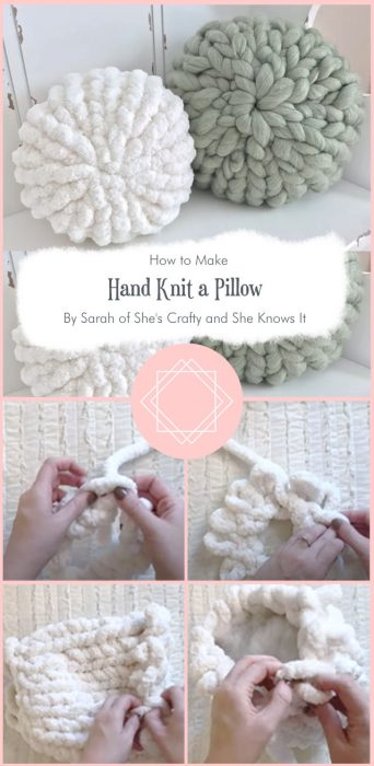 How to Hand Knit a Pillow By Sarah of She's Crafty and She Knows It