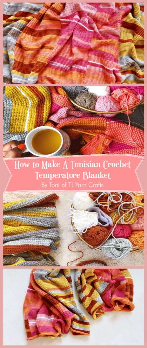 How to Make A Tunisian Crochet Temperature Blanket By Toni of TL Yarn Crafts