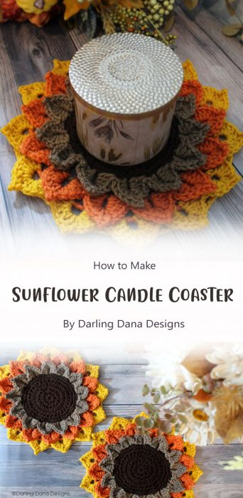 Sunflower Candle Coaster By Darling Dana Designs