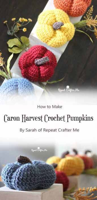 Caron Harvest Crochet Pumpkins By Sarah of Repeat Crafter Me