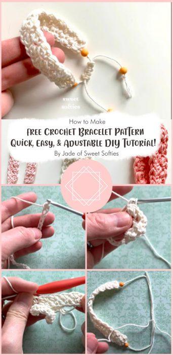 Free Crochet Bracelet Pattern · Quick, Easy, & Adustable DIY Tutorial! By Jade of Sweet Softies