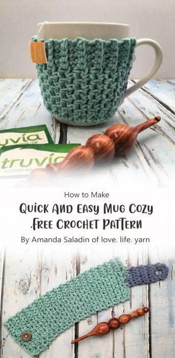 Quick And Easy Mug Cozy – Free Crochet Pattern By Amanda Saladin of love. life. yarn.