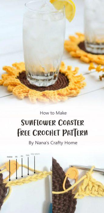 Sunflower Coaster Free Crochet Pattern By Nana's Crafty Home