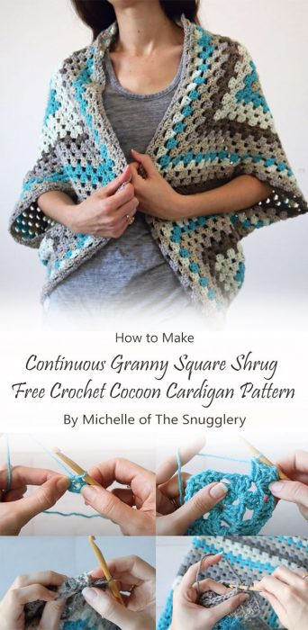Continuous Granny Square Shrug – Free Crochet Cocoon Cardigan Pattern By Michelle of The Snugglery