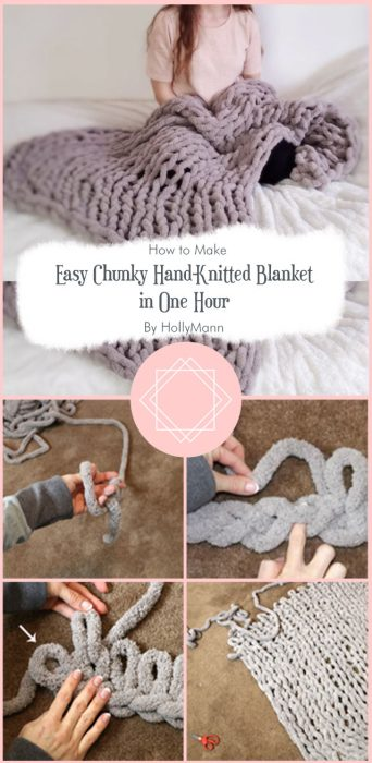 Easy Chunky Hand-Knitted Blanket in One Hour By HollyMann