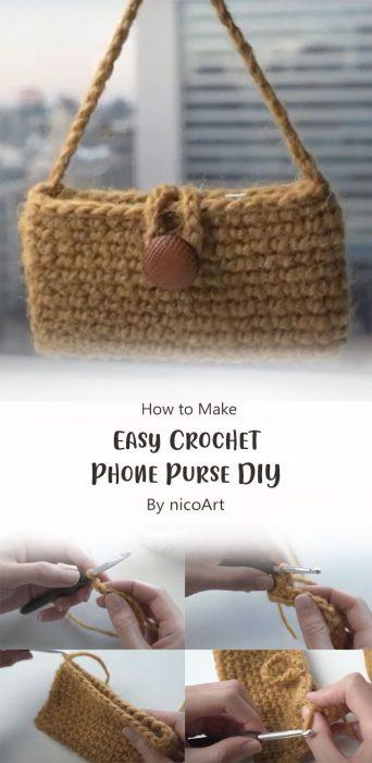 Easy Crochet Phone Purse DIY By nicoArt