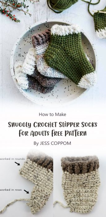Snuggly Crochet Slipper Socks For Adults – Free Pattern By JESS COPPOM
