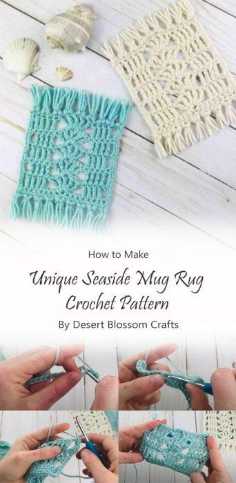 Unique Seaside Mug Rug Crochet Pattern By Desert Blossom Crafts