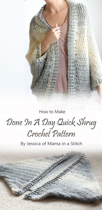 Done In A Day Quick Shrug Crochet Pattern By Jessica of Mama in a Stitch