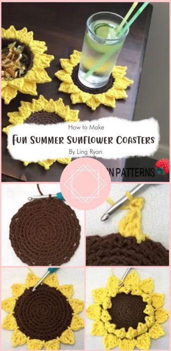 Fun Summer Sunflower Coasters (Free crochet pattern) By Ling Ryan