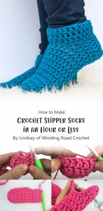 How to Crochet Slipper Socks in an Hour or Less By Lindsey of Winding Road Crochet