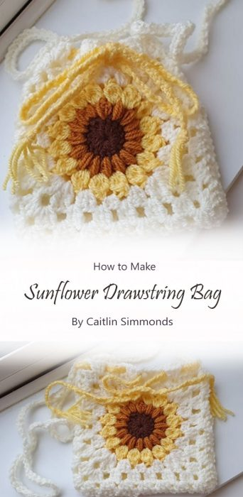 Sunflower Drawstring Bag By Caitlin Simmonds