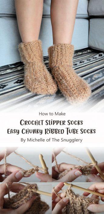 Crochet Slipper Socks – Easy Chunky Ribbed Tube Socks By Michelle of The Snugglery