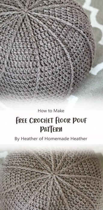 Free Crochet Floor Pouf Pattern By Heather of Homemade Heather