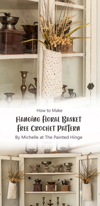 Hanging Floral Basket Free Crochet Pattern By Michelle at The Painted Hinge