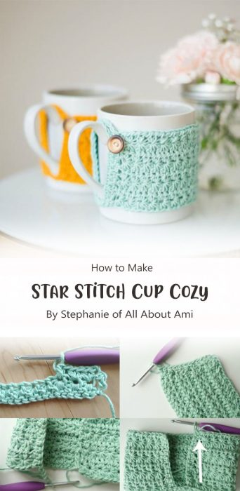 Star Stitch Cup Cozy By Stephanie of All About Ami