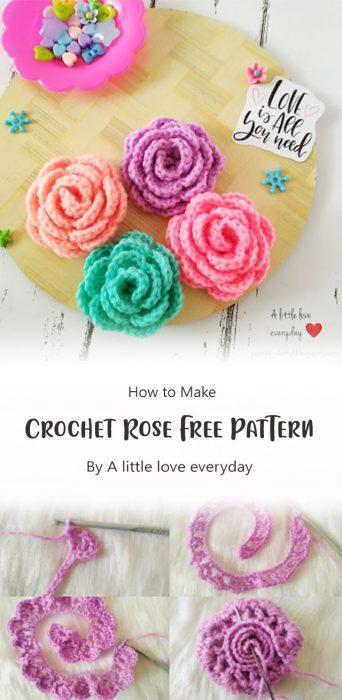 Crochet Rose Free Pattern By A little love everyday